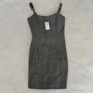 NWT Retail$260Black Metallic Tweed Suspender Dress
